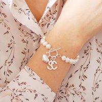 Freshwater Pearl Initial Bracelet, Ivory/Grey