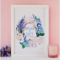 Personalised Wild Flowers Wedding Papercut Print