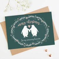Fiancee Christmas Card Penguin Teal