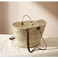 Handwoven Straw Market Basket With Double Straps