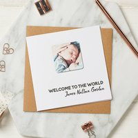 Personalised New Baby Photo Magnet Card