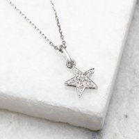 18ct White Gold And Diamond Set Star Necklace, Gold