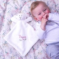 Personalised Lamb Baby Comforter Blanket Toy