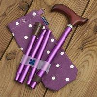 Folding Walking Stick Purple Spotty Storage Bag