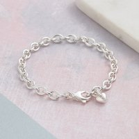 Solid Silver, Rose Or Gold Heart Or Star Charm Bracelet, Silver