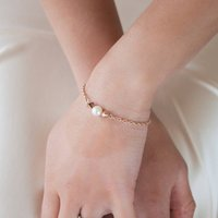 Pearl Rose Gold Plated Swarovski Bracelet, Gold