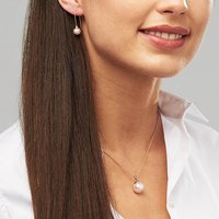 Rose Gold Pearl Necklace And Earring Set, Gold
