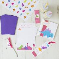 Personalised Pink Dinosaur Stationery Bundle