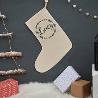 Personalised Christmas Wreath Stocking