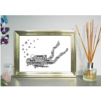 Personalised Diver Word Art Print