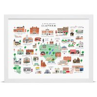A Walk Around Clapham Map Print