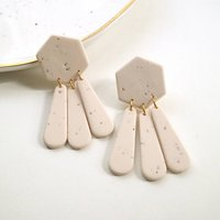 Speckled Cream Coloured Hexagon Clay Dangle Earrings