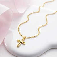 Childrens 18ct Gold Vermeil Cherish Cross Necklace, Gold