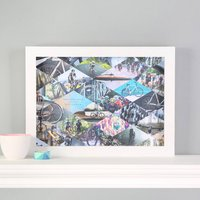 Personalised Family Cyclists Photo Collage Framed Print