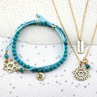 Gold Turquoise Throat Chakra Jewellery, Gold