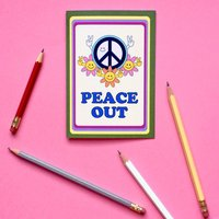 Retro Cool Peace Out Goodbye Leaving Card
