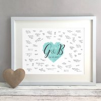 Personalised Watercolour Heart Wedding Guest Book Print