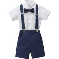 Boys 4pc Wedding Linen Blend Brace Set Outfit, Blue/White