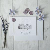 Lilac Wedding Invitation With Lavender Wax Seal
