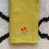Personalised Hand Embroidered Initial Linen Napkin