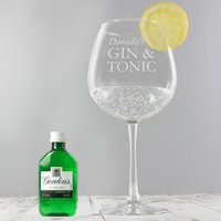 Personalised Gin Balloon Glass With Gin Miniature