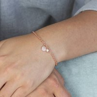 Personalised Pave Pearl Charm Bracelet