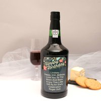 Personalised Port Gift With Retro Birthday Label