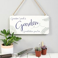 Personalised Calligraphy Hanging Metal Garden Sign, Navy/Red/Green