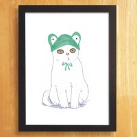 Cat Print Cat In Green Frog Hat Illustration Print