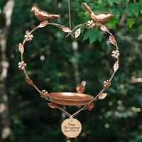 Personalised Copper Hanging Heart Garden Bird Feeder