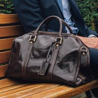 Small Luxury Leather Holdall. The Flero Small, Chestnut/Tan/Dark Chocolate
