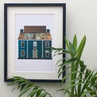 Toy Chest Doll House Recycled Paper Collage Print