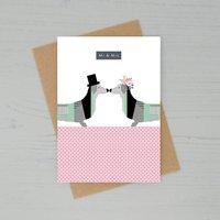 Dachshund Mr And Mrs Wedding Card