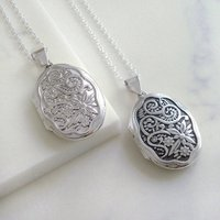 Sterling Silver Oval Floral Locket, Silver