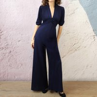 1940s Style Jumpsuit In French Navy Crepe