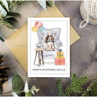 Brown Cocker Spaniel Dog Personalised Birthday Card