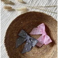 Childrens Gingham And Faux Pearl Hair Bow
