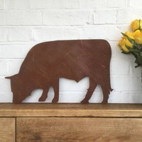 Rusted Metal Bull Silhouette Garden Ornament Sign