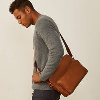 Italian Soft Grain Leather Messenger Bag Santino M