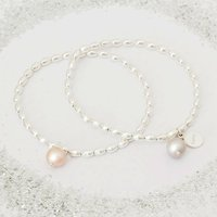 Serafina Personalised Pearl Bracelet, Silver/Rose Gold/Rose