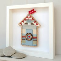 Personalised Fabric Beach Hut With Life Buoy Ring