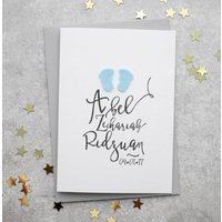 Personalised Name New Baby Boy Card With Felt