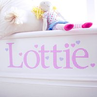 Personalised Pink Gingham Wall Letter Sticker, Pink