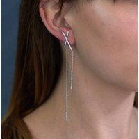 Asymmetric Statement Bar Earrings, White/Gold