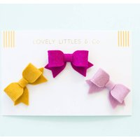 Bow Hair Clip Set, Apricot/Salmon/Cherry