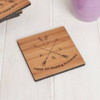 Personalised Wooden Anniversary Coaster Set