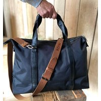 Personalised Holdall With A Leather Strap