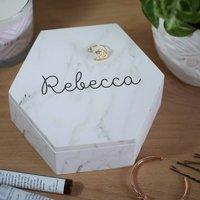 Personalised Marble Hexagonal Wooden Trinket Box