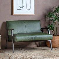 Retro Green Leather Two Seater Sofa April