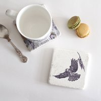 Red Footed Falcon Natural Stone Coaster